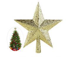 AKOAK Weihnachtsbaumspitze, 15 cm, dreidimensionaler Stern mit fünfzackigem Stern, für Weihnachtsbaum-Dekoration im Innenbereich, Party-Dekoration Gold