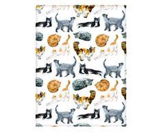 Manerly Llama Überwurfdecke für Bett Couch Sofa, farbenfrohes Muster mit Llama, Blumen, Vögel und Ethnischen Designelementen, leicht, superweich, warme Decke für Kinder und Erwachsene (152 x 203,2 cm) 60 x 80 Inches Multi 048