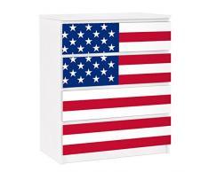 Apalis 91253 Möbelfolie für Ikea Malm Kommode - selbstklebende Flag of America 1, größe 4 mal, 20 x 80 cm