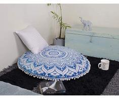 Popular Handicrafts Mandala Round Hippie Bodenkissen 24 Pillow Cover blau