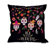 HGOD Designs Kissenbezug, Motiv Day of the Dead, lustiger Blumenkädel, Dia De Los Muertos, Baumwolle, Leinen, Polyester, Dekoration, Sofa, Schreibtisch, Stuhl, Schlafzimmer, 40,6 x 40,6 cm 18x18 Inch A5-0069