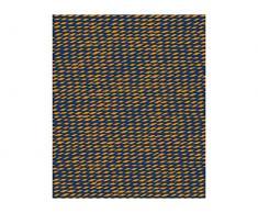 Pt, (Present Time) Fleece Decke Tuned Mesh Curry gelb, dunkelblau, Vlies, L. 180 cm, W. 150 cm