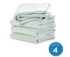 iDesign 4er-Set Handtücher, kleines Handtuch mit gewebter Verzierung aus Baumwolle, weiches und saugfähiges Handtuch Set mit Aufhänger für Waschbecken und Gäste-WC, hellblau