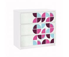 Apalis 91748 Möbelfolie für Ikea Malm Kommode Retro Kreise Musterdesign, größe 3 mal, 20 x 80 cm