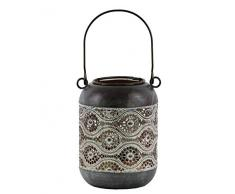 Benjara Laterne, zylindrische Form, Metall, Blumenmuster, Grau