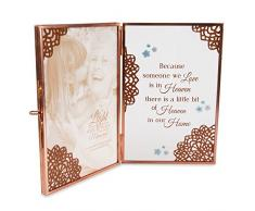 Pavillon – Because Someone We Love is in Heaven There is a Little Bit of Heaven in Our Home – In Memory Klar Glas und Metall Kupfer faltbar 10,2 x 15,2 cm Bilderrahmen