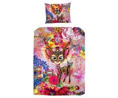 Melli Mello farbig Kinderbettwäsche Isabelle mit Reh, 200 x 135 x 0,5 cm, mehrfarbig