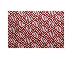 E-design 2 x 3-ft, Leeward Schlüssel, geometrische Print Teppich, rot