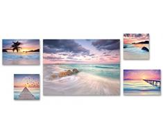 Eurographics 5er Pink Sunset Set Leinwandbild, Leinwand, Bunt, verschidenen Größen, 5