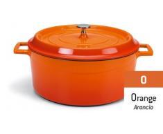 Pentole Agnelli SLOWCOOK Schmortopf mit 2 Griffen und Deckel, Gusseisen 0.36 litri Arancio