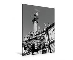 Premium Textil-Leinwand 60 x 90 cm Hoch-Format Detailreiche Laterne mit Statue am Rudolfinum   Wandbild, HD-Bild auf Keilrahmen, Fertigbild auf hochwertigem Vlies, Leinwanddruck von happyroger
