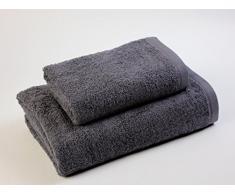 Das Dragon Blanco Pack Waschbecken mit Badetuch, 100% Baumwolle, dunkelgrau 50 x 100; 100 x 150 cm