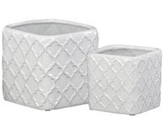 Urban Trends Keramik quadratisch Blumentopf mit geprägtem Diagonal Design und abgerundeten Ecken in Gloss Finish (Set of 2), weiß