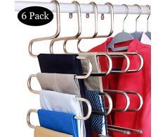 DOIOWN S-Typ Edelstahl Kleiderbügel Kleiderbügel Kleiderschrank Aufbewahrung Organizer für Hosen Jeans Schal hängend (37 x 38 cm), 3er-Set, 6-Pieces