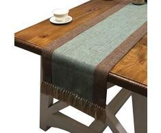 PHNAM Tischläufer mit Quasten, Leinen, Baumwolle, 183 cm, für Kaffee, Esstisch, Läufer, rutschfest, für Zuhause, Küche, Party, Hochzeit, Dekoration, maschinenwaschbar