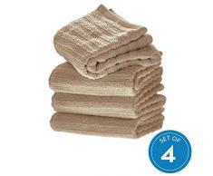 iDesign 4er-Set Handtücher, kleines Handtuch mit Streifenstruktur aus Baumwolle, weiches und saugfähiges Handtuch Set mit Aufhänger für Waschbecken und Gäste-WC, beige