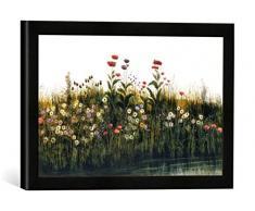 Gerahmtes Bild von Andrew Nicholl Poppies, Daisies and Thistles on a River Bank (Pair of 85964), Kunstdruck im hochwertigen handgefertigten Bilder-Rahmen, 40x30 cm, Schwarz matt