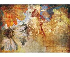 AG Design FTxxl 0334 Blumenmalerei, Papier Fototapete - 360x255 cm - 4 teile, Papier, multicolor, 0,1 x 360 x 255 cm