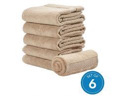iDesign 6er-Set Handtücher, kleines Handtuch mit gewebter Verzierung aus Baumwolle, weiches und saugfähiges Handtuch Set mit Aufhänger für Waschbecken und Gäste-WC, beige