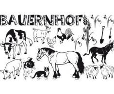 Graz Design 770071_100x57_070 Wandtattoo Set Kinderzimmer Bauernhof mit Kuh und Pferd 100x57cm Schwarz