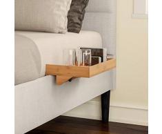 Lavish Home Nachttisch Regal - Umweltfreundliches Bambus Modern Klemmbar Floating Nachttisch und Schlafzimmer Zubehör Tablett für Zuhause, Wohnheim, Wohnmobil oder Wohnung