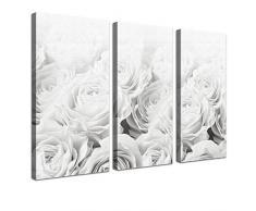 LANA KK - Leinwandbild Bed Of Roses BW mit Blumen auf Echtholz-Keilrahmen – Frühling und Natur Fotoleinwand-Kunstdruck in weiß, dreiteilig & fertig gerahmt in 120x80cm