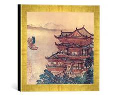 Gerahmtes Bild von Chinesische Malerei Pavillon der himmlischen Melodien/um1000, Kunstdruck im hochwertigen handgefertigten Bilder-Rahmen, 30x30 cm, Gold Raya