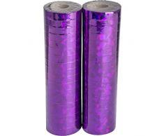 Carnival Toys Luftschlangen Metall Violett Ologramm, 2 Stück, 18 mm x 7 m