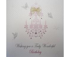 WHITE COTTON CARDS Pink Kronleuchter Wishing You A Wonderful Truly Birthday, handgefertigt