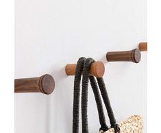 HomeDo 5 Stück Holz-Wandhaken, Hutständer, Kleiderhaken, Wandmontage, dekorative Haken, einzelner Organizer für Hut, Handtuchhalter, Schwerlasthaken Round3.5-cherry-4pack