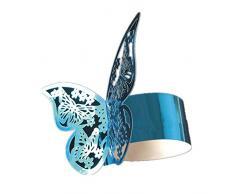 King & Pig Serviettenringe in Schmetterlingsform, für Abendessen, Esstisch, Zuhause, Hochzeit, Geburtstag, Jahrestag, Party, Dekoration, 50 Stück hellblau