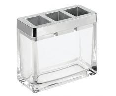 iDesign Casilla geteilter Zahnbürsten Halter für den Waschtisch, Zahnbürstenaufbewahrung aus Glas und Kunststoff, durchsichtig und silberfarben