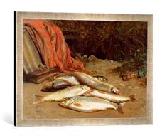 Gerahmtes Bild von William Geddes Brown Trout on a River Bank, Kunstdruck im hochwertigen handgefertigten Bilder-Rahmen, 60x40 cm, Silber Raya