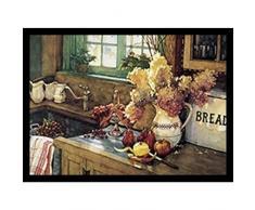 Buyartforless Arbeit Gerahmter Kunstdruck von Deborah L. Chabrian, 21 x 15 cm, Vintage-Stil, Stillleben, Küche, Waschbecken, Blumen, Äpfel, Birnen und Trauben, Braun