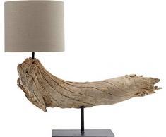 Kare Design Tischleuchte Sansibar, Lampe aus Holz, Tischlampe, Nachttischlampe, Leuchte aus Treibholz, Wohnzimmerlampe, (H/B/T) 54x64x24cm braun