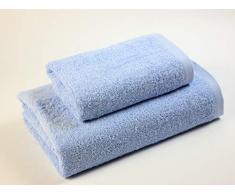 Das Dragon Blanco Pack Waschbecken mit Badetuch, 100% Baumwolle, Babyblau, 50 x 100; 100 x 150 cm