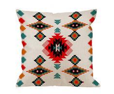 hgod Designs Überwurf Kissen Fall Azteken Navajo Baumwolle Leinen Quadratisch Kissenbezug Standard Kissenbezug für Männer Frauen Kinder Home Dekorative Sofa Sessel Schlafzimmer Wohnzimmer 45,7 x 45,7 cm