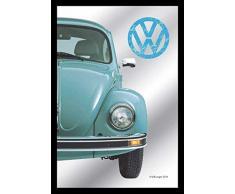 empireposter - Volkswagen - Half Beetle - Größe (cm), ca. 20x30 - Bedruckter Spiegel, NEU - Beschreibung: - Bedruckter Wandspiegel mit schwarzem Kunststoffrahmen in Holzoptik -