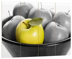 Pixxprint Apple Apfel Korb mit grünen Äpfeln schwarz/weiß, MDF Bretterlook Format: 80x60cm, Wanddekoration Holzbild, Holz, bunt, 80 x 60 x 2 cm