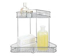 iDesign Vienna Eckregal, praktischer Korb aus Metall mit zwei Etagen zur Kosmetikaufbewahrung oder für Shampooflaschen, silberfarben