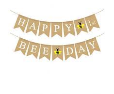 Rainlemon Jute Sackleine Happy 1st Bee Day Banner Hummelmotiv Baby First Birthday Party Girlande Dekoration