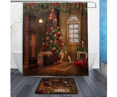 ALAZA Set von 2 Christmas Tree Vintage Raum 152,4 x 182,9 cm Vorhang für die Dusche und Matte Set, Weihnachten Urlaub Wasserdicht Stoff Badezimmer Vorhang und Teppich-Set mit Haken Multicolor 1