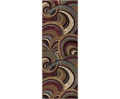 Universal Teppiche Abstrakt Moderner Läufer Accent Bereich Teppich, braun, 221 x 79 cm