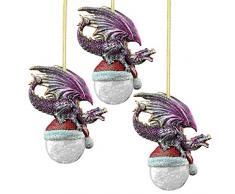 Design Toscano Christbaumschmuck - Nordpol Weihnachtsmütze Drache Feiertags-Verzierung: Set von drei - Snowflake Dragon Ball Ornament
