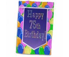3dRose Luftballons mit violettem Banner Happy 75th Birthday Handtuch, Mehrfarbig, 38,1 x 55,9 cm