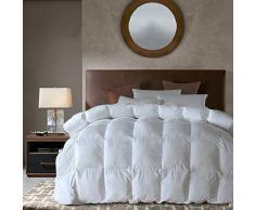 Gänsedaunen Alternative Bettdecke für alle Jahreszeiten (weiß, Queen), sehr weich, gebürstete Mikrofaser, Steppdeckenbezug mit Ecklaschen Queen-90x90