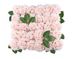 Anseal Künstliche Rosen 60 Stück künstliche Rosen Real Look Künstliche Schaumrosen Dekoration DIY für Hochzeitssträuße Tafelaufsätze Arrangements Baby Dusche Party Home Dekoration 60pcs elfenbeinfarben