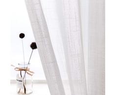 AmHoo Leinen-Vorhänge, hochwertig, schwer, halbtransparent, mit Ösen, Voile-Panels, Leinenstruktur, Fensterbehandlung für Wohnzimmer, Schlafzimmer, 2 Paneele 52 x 63 Inch weiß