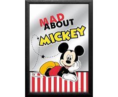 empireposter - Mickey Mouse - Mad About - Größe (cm), ca. 20x30 - Bedruckter Spiegel, NEU - Beschreibung: - Bedruckter Wandspiegel mit schwarzem Kunststoffrahmen in Holzoptik -