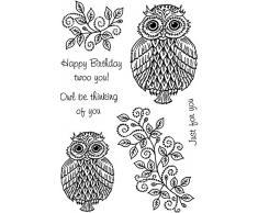Crafty Impressions A6 Sue Dix Weihnachtskugeln und Wimpelkette Stempel Owl Be Thinking of You durchsichtig